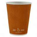 Paper Cup 10oz, Ripple Double Wall in Brown, 500-count