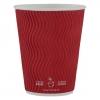 Paper Cup 10oz, Ripple Double Wall in Red, 500-count
