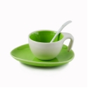Espresso Cup & Saucer w/ Spoon - Green