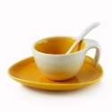 Espresso Cup & Saucer w/ Spoon - Yellow