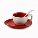 Espresso Cup & Saucer w/ Spoon - Red