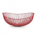 "FABLE Iron Basket 14.5x13x1.8""H,  Matte Red"