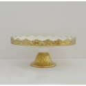 "FABLE Gold Cake Stand, 11.75"" Matte Gold Rim and Foot"