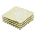 "ORGANIC 4-Pc Square Sauce Plate Set, 3.5"" (Yellow)"