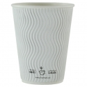 12oz/360ml Compostable White Ripple Cup, 500-ct