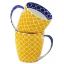 2-Piece Pattern Mug Set  - Yellow