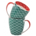 2-Piece Pattern Mug Set  - Green