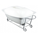 WHITE TIE Rectangular Casserole with Warmer, 13.25""