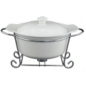 WHITE TIE Round Casserole with Warmer, 9""